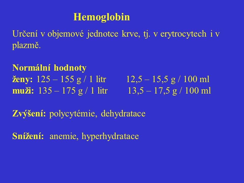 Hemoglobin Určení v objemové jednotce krve, tj. v erytrocytech i v plazmě.
