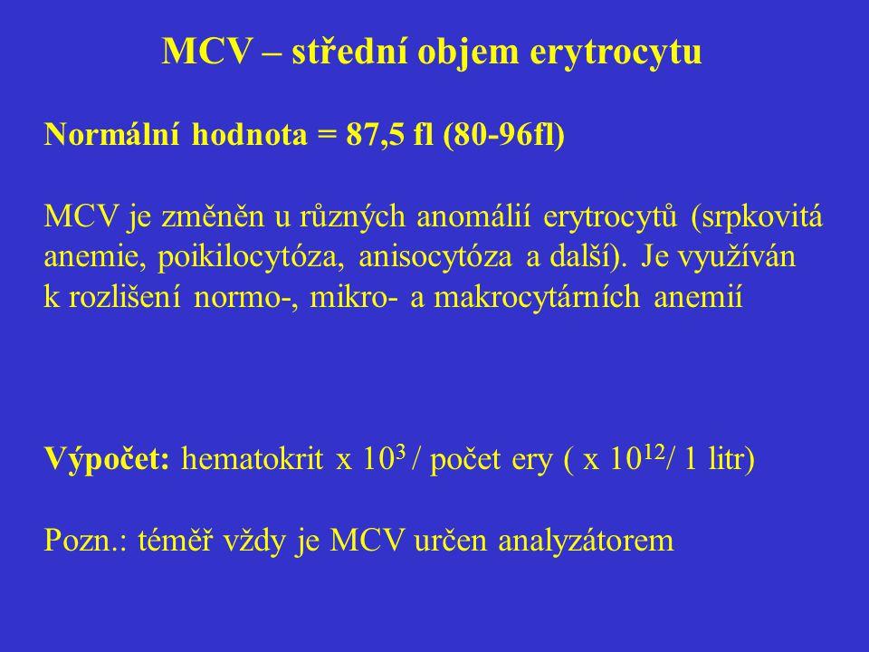 MCV – střední objem erytrocytu