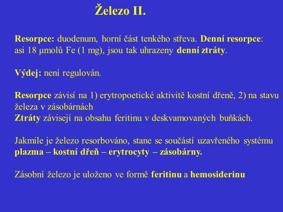 Železo II. Resorpce: duodenum, horní část tenkého střeva. Denní resorpce: asi 18 μmolů Fe (1 mg), jsou tak uhrazeny denní ztráty.