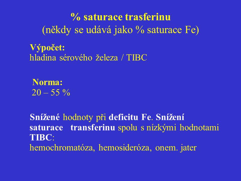 % saturace trasferinu (někdy se udává jako % saturace Fe)