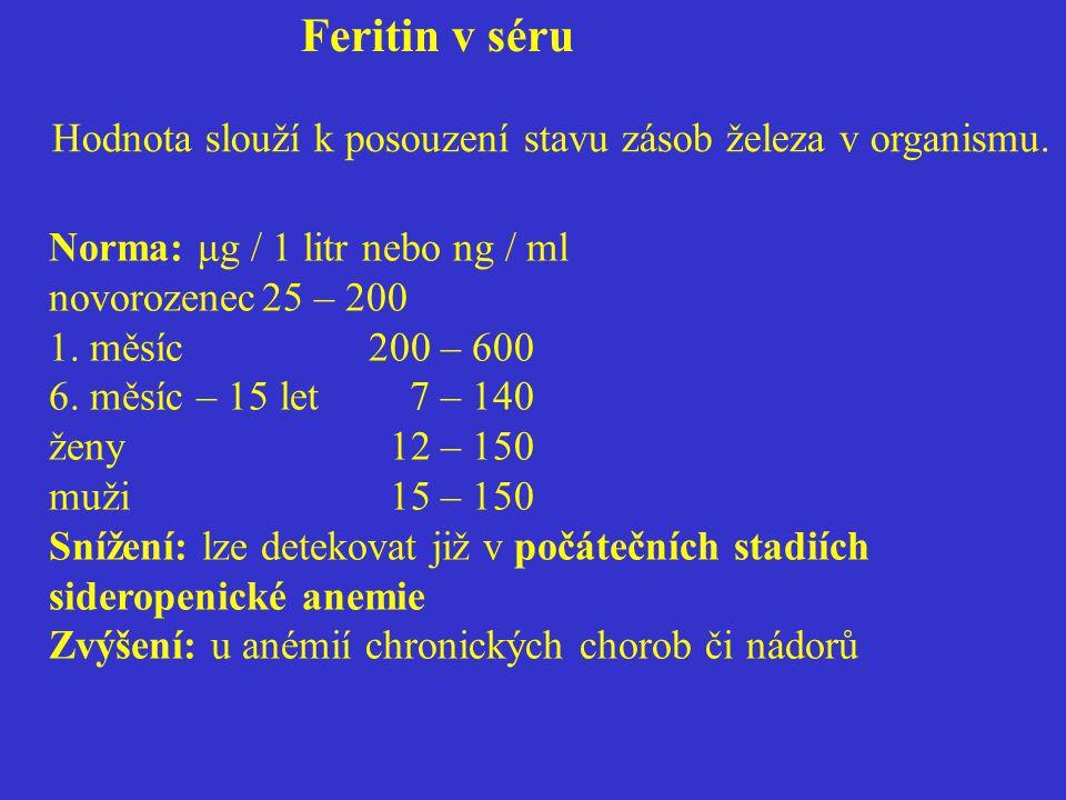 Feritin v séru Hodnota slouží k posouzení stavu zásob železa v organismu.