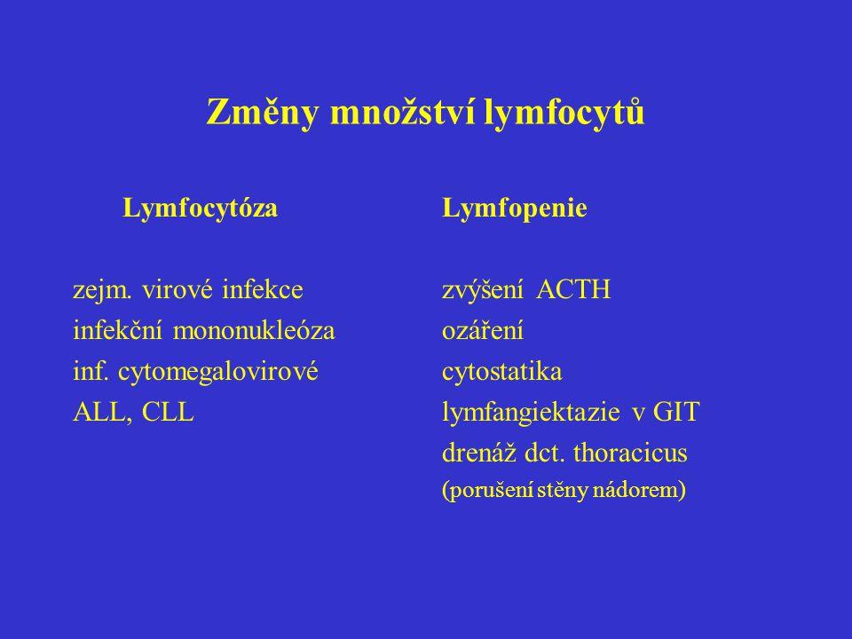 Změny množství lymfocytů