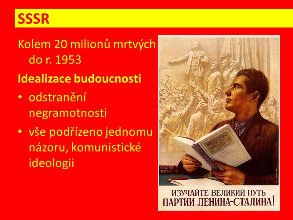 SSSR Kolem 20 milionů mrtvých do r. 1953 Idealizace budoucnosti