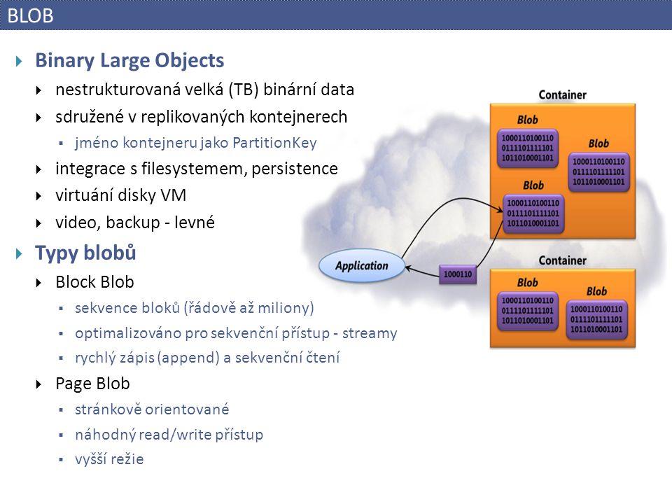 BLOB Binary Large Objects Typy blobů