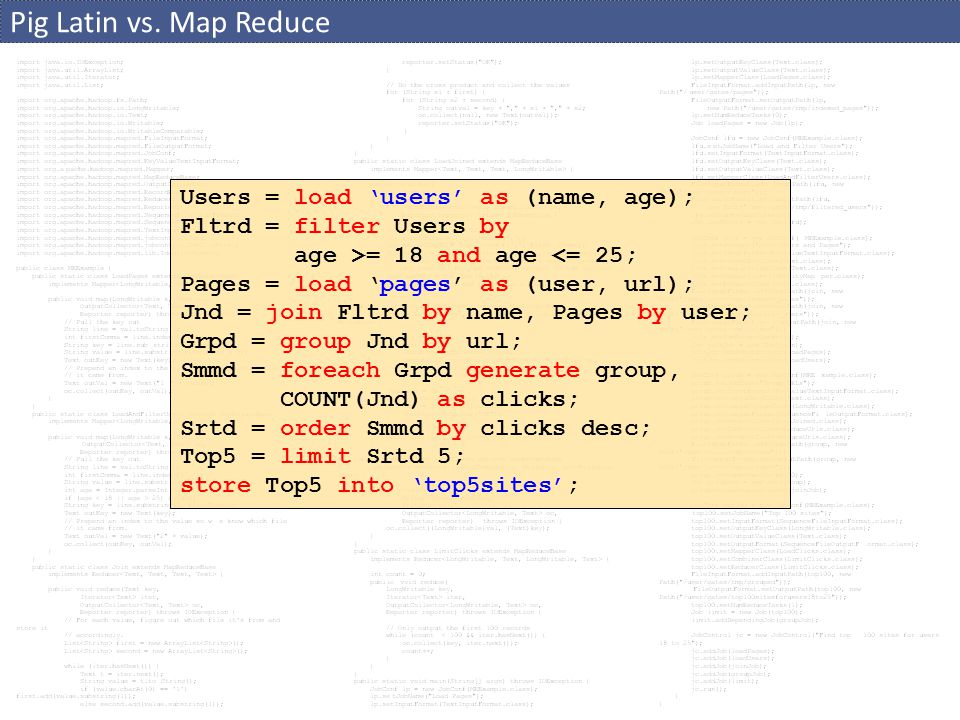 Pig Latin vs. Map Reduce