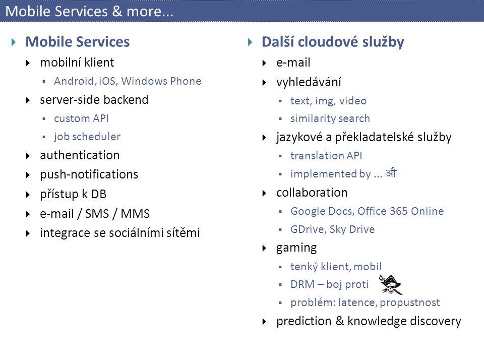 Mobile Services & more... Mobile Services Další cloudové služby