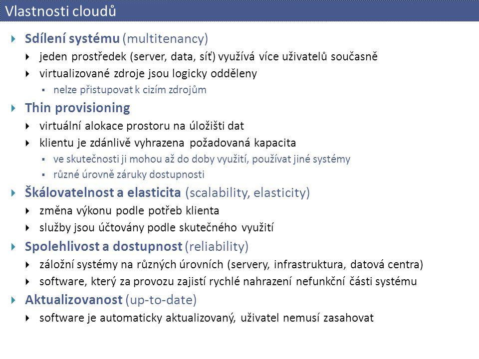 Vlastnosti cloudů Sdílení systému (multitenancy) Thin provisioning