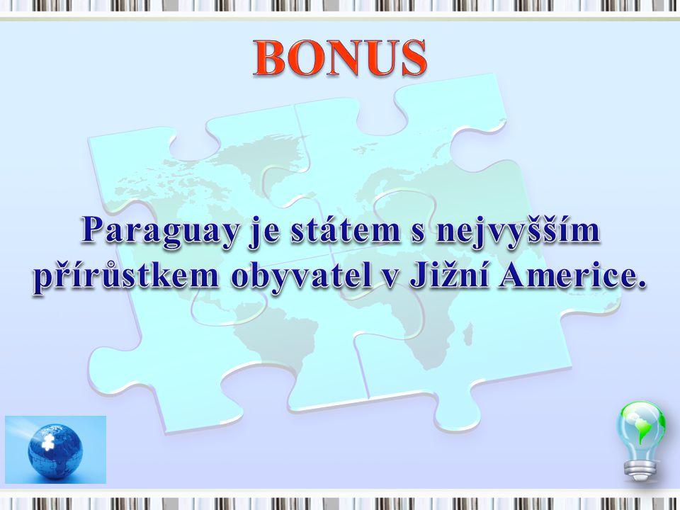 Paraguay je státem s nejvyšším přírůstkem obyvatel v Jižní Americe.