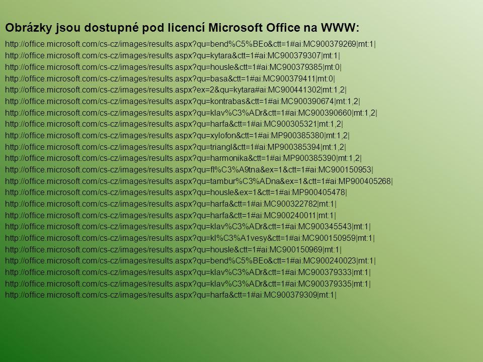 Obrázky jsou dostupné pod licencí Microsoft Office na WWW: