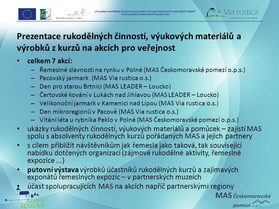 Prezentace rukodělných činností, výukových materiálů a výrobků z kurzů na akcích pro veřejnost