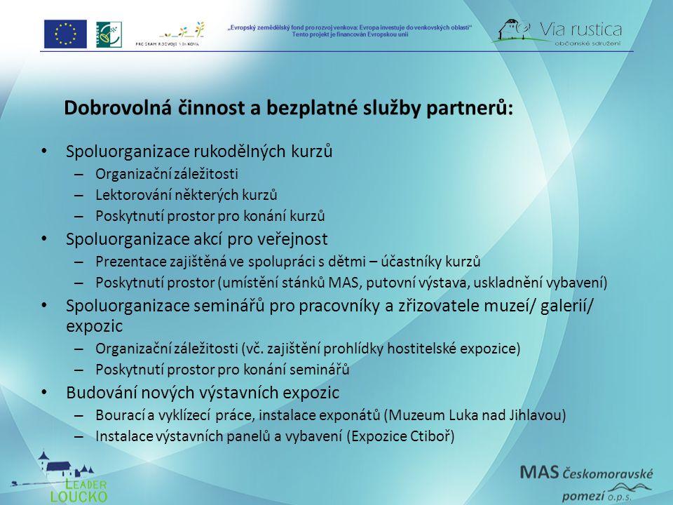 Dobrovolná činnost a bezplatné služby partnerů: