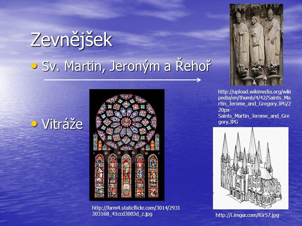 Zevnějšek Sv. Martin, Jeroným a Řehoř Vitráže