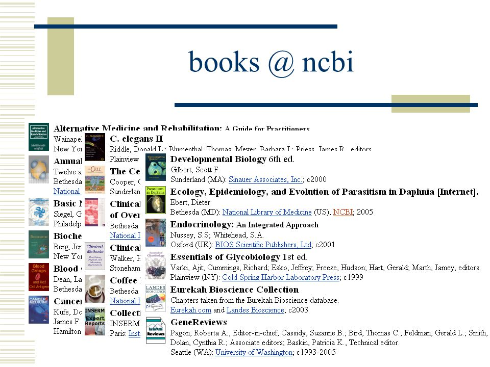 books @ ncbi