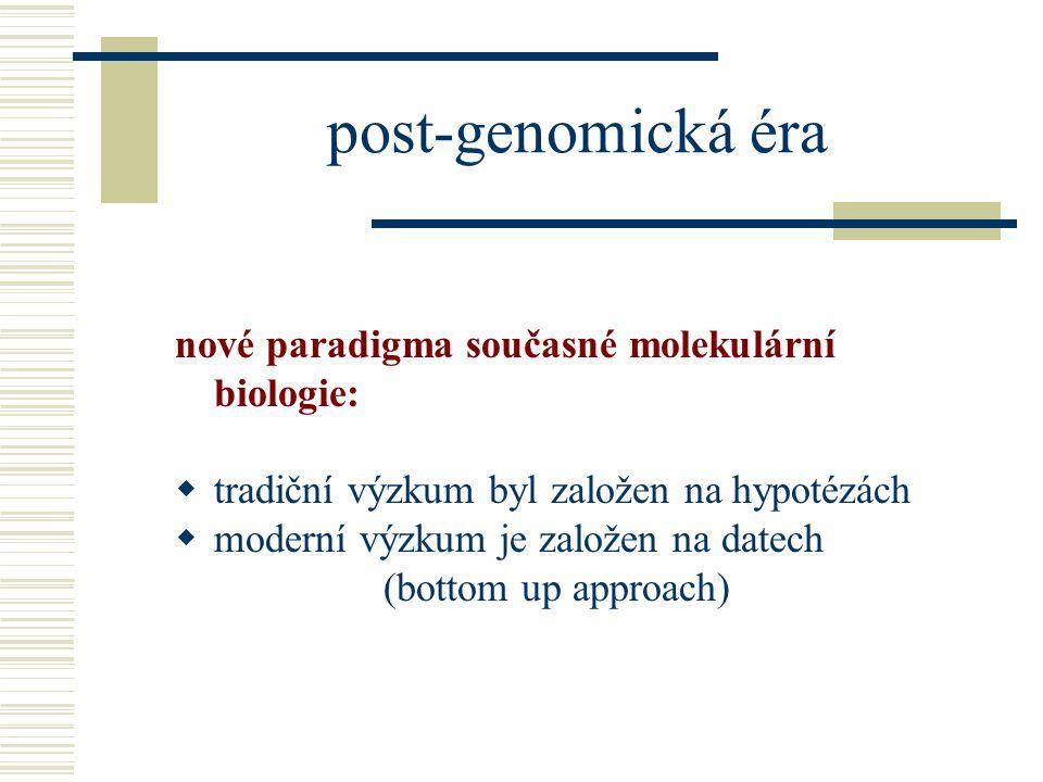 post-genomická éra nové paradigma současné molekulární biologie: