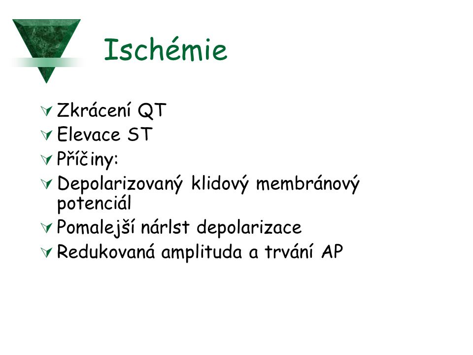 Ischémie Zkrácení QT Elevace ST Příčiny: