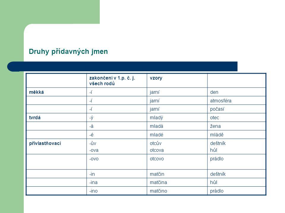Druhy přídavných jmen zakončení v 1.p. č. j. všech rodů vzory měkká -í