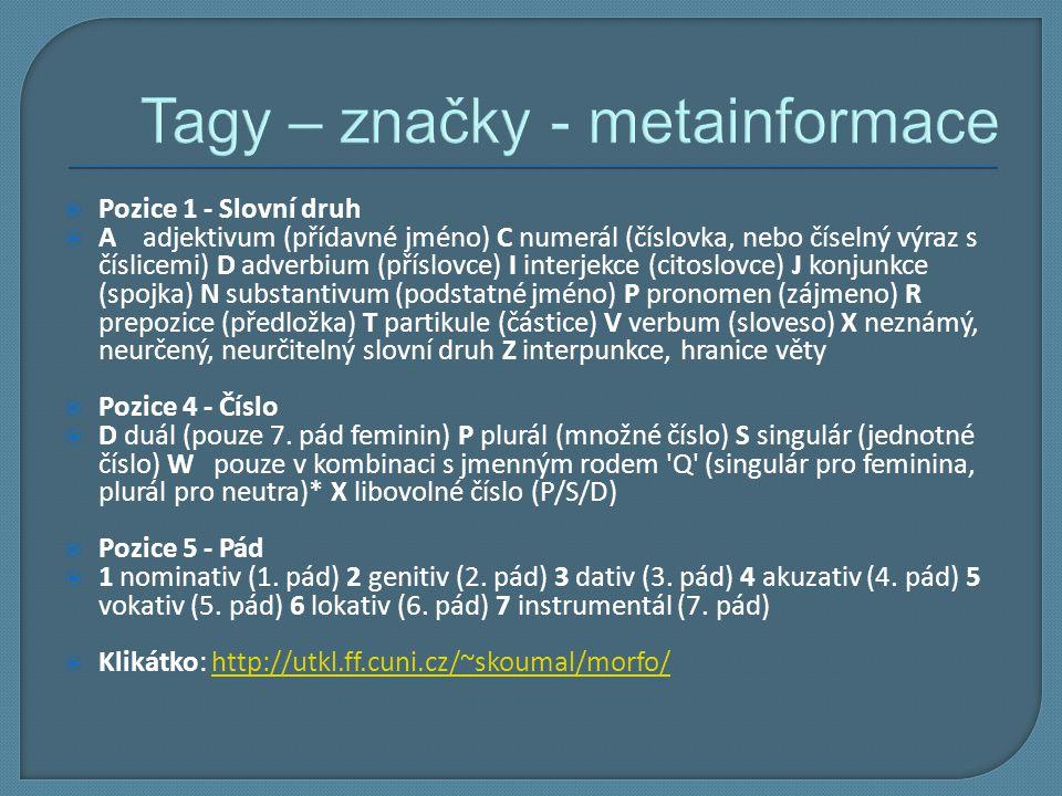 Tagy – značky - metainformace