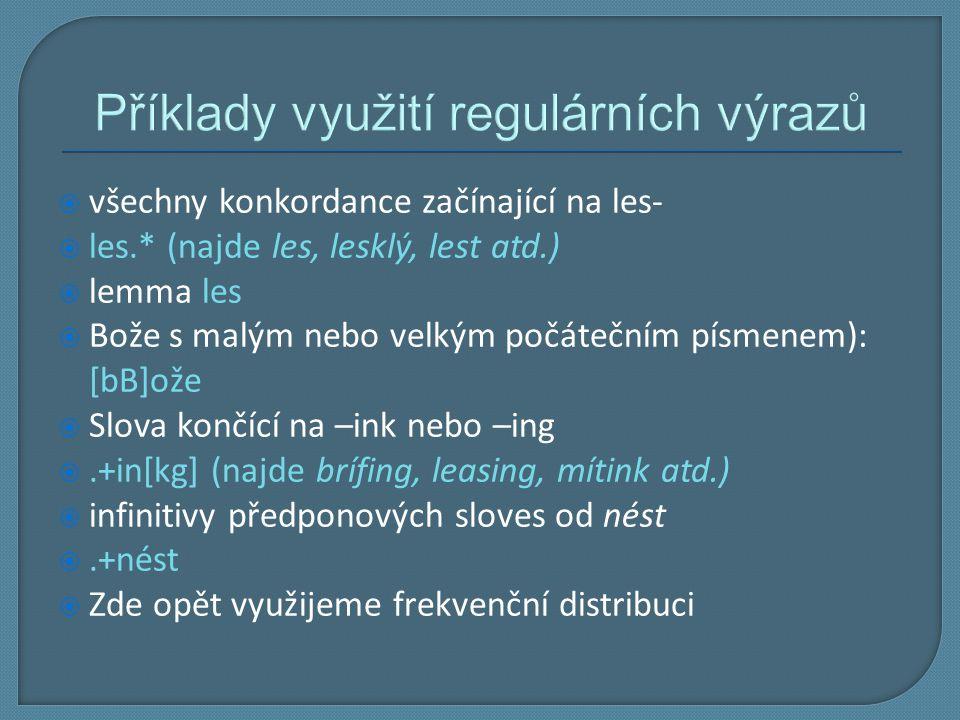 Příklady využití regulárních výrazů