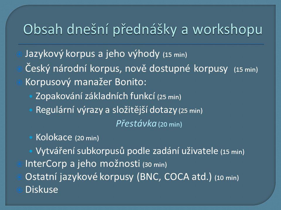 Obsah dnešní přednášky a workshopu