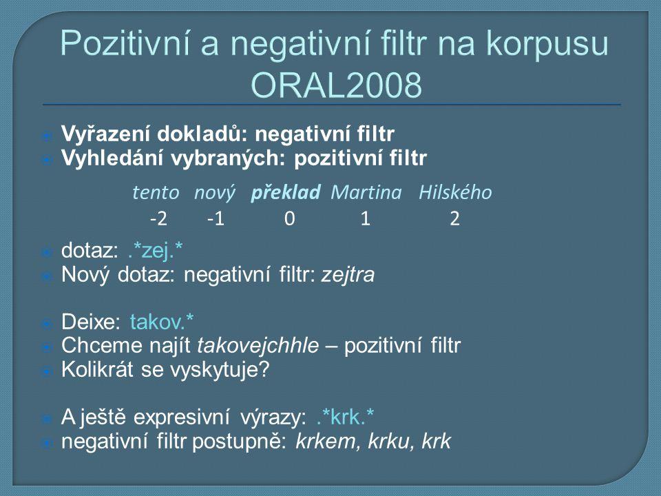 Pozitivní a negativní filtr na korpusu ORAL2008