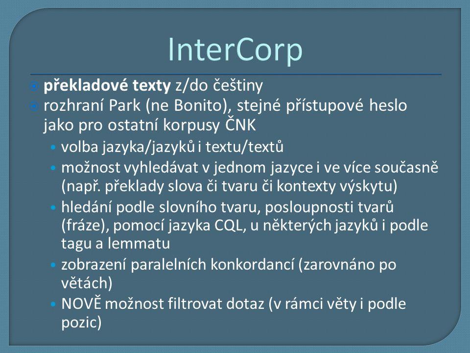 InterCorp překladové texty z/do češtiny