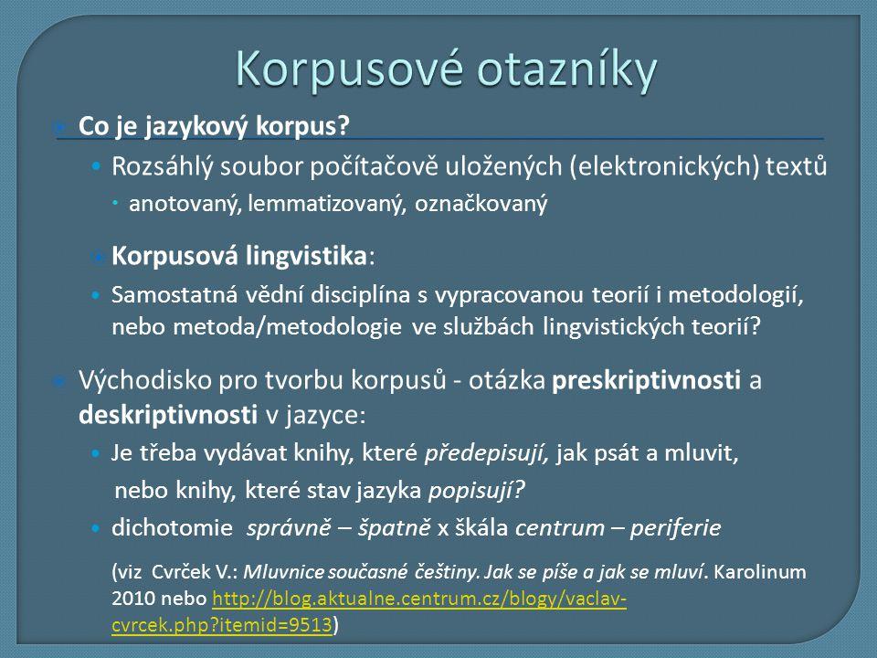Korpusové otazníky Co je jazykový korpus