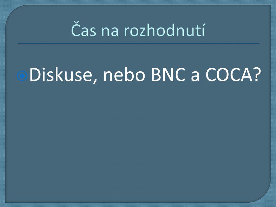 Čas na rozhodnutí Diskuse, nebo BNC a COCA