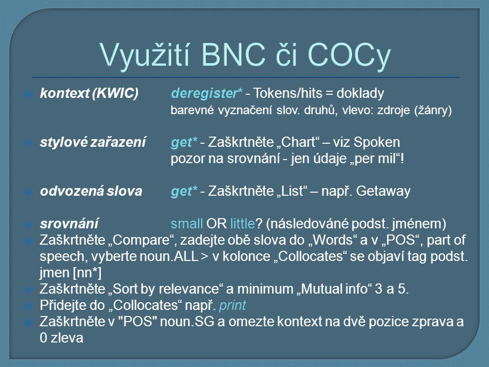 Využití BNC či COCy kontext (KWIC) deregister* - Tokens/hits = doklady