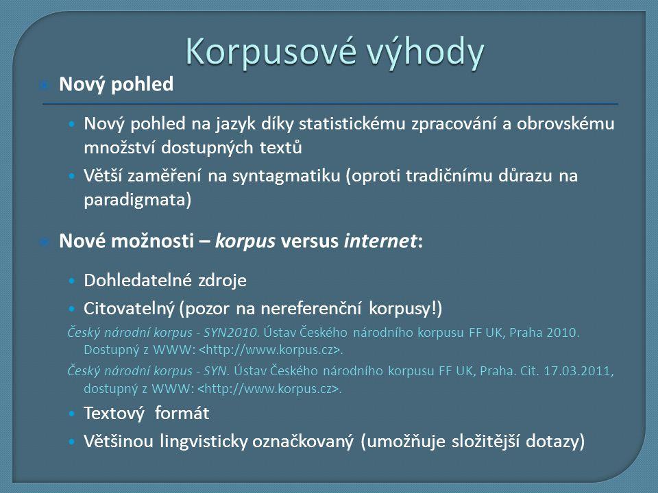 Korpusové výhody Nový pohled Nové možnosti – korpus versus internet: