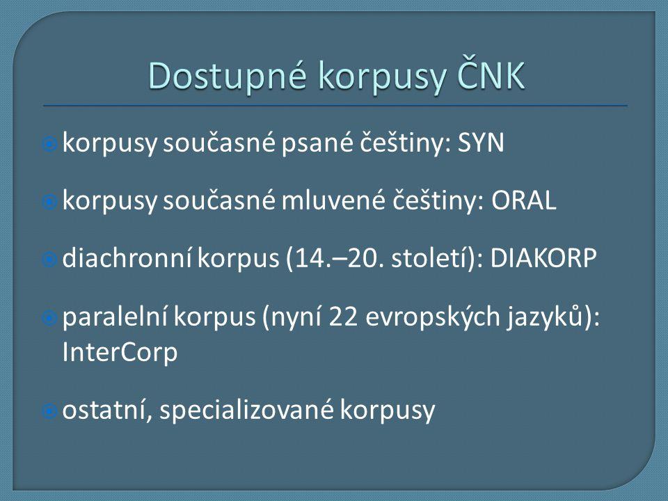 Dostupné korpusy ČNK korpusy současné psané češtiny: SYN