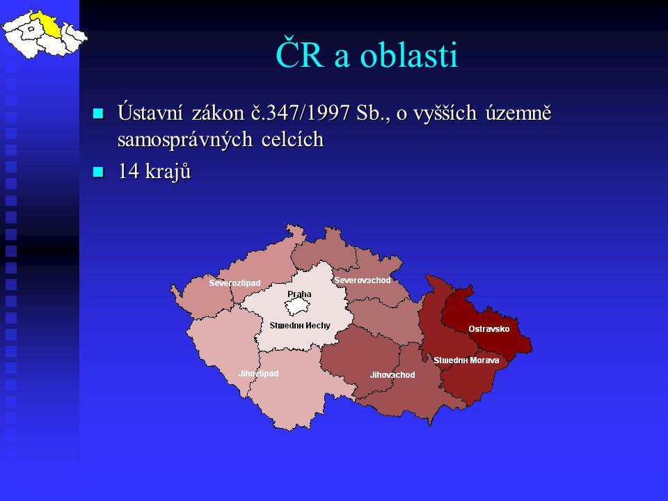 ČR a oblasti Ústavní zákon č.347/1997 Sb., o vyšších územně samosprávných celcích. 14 krajů.