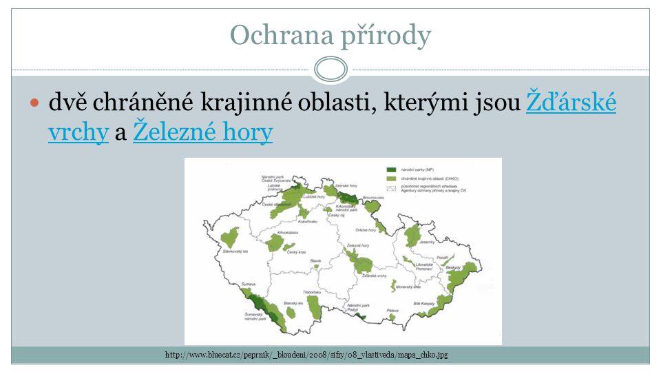 Ochrana přírody dvě chráněné krajinné oblasti, kterými jsou Žďárské vrchy a Železné hory.
