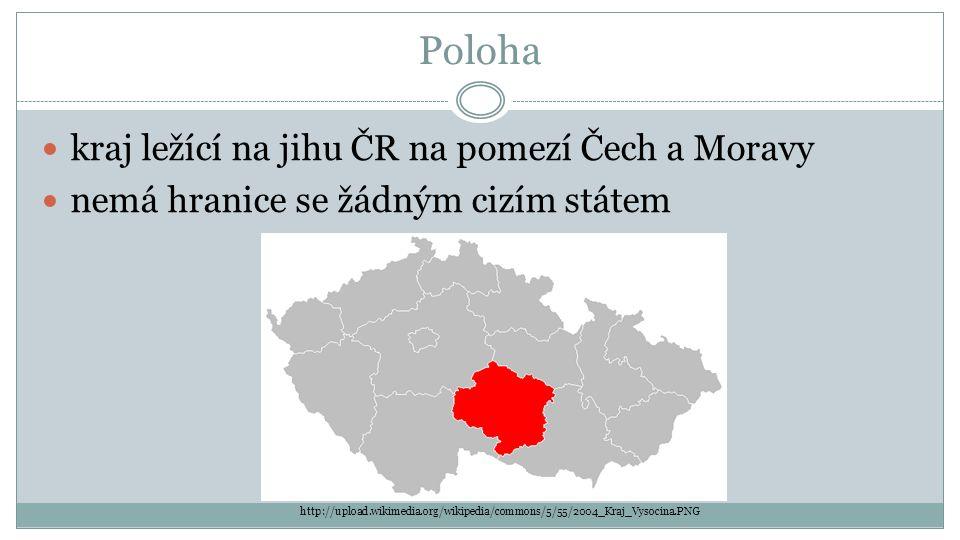Poloha kraj ležící na jihu ČR na pomezí Čech a Moravy