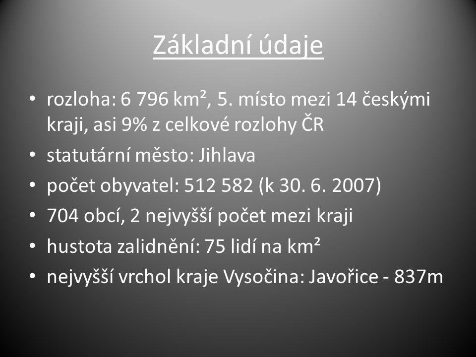 Základní údaje rozloha: 6 796 km², 5. místo mezi 14 českými kraji, asi 9% z celkové rozlohy ČR. statutární město: Jihlava.