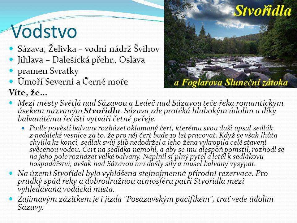 Vodstvo Sázava, Želivka – vodní nádrž Švihov
