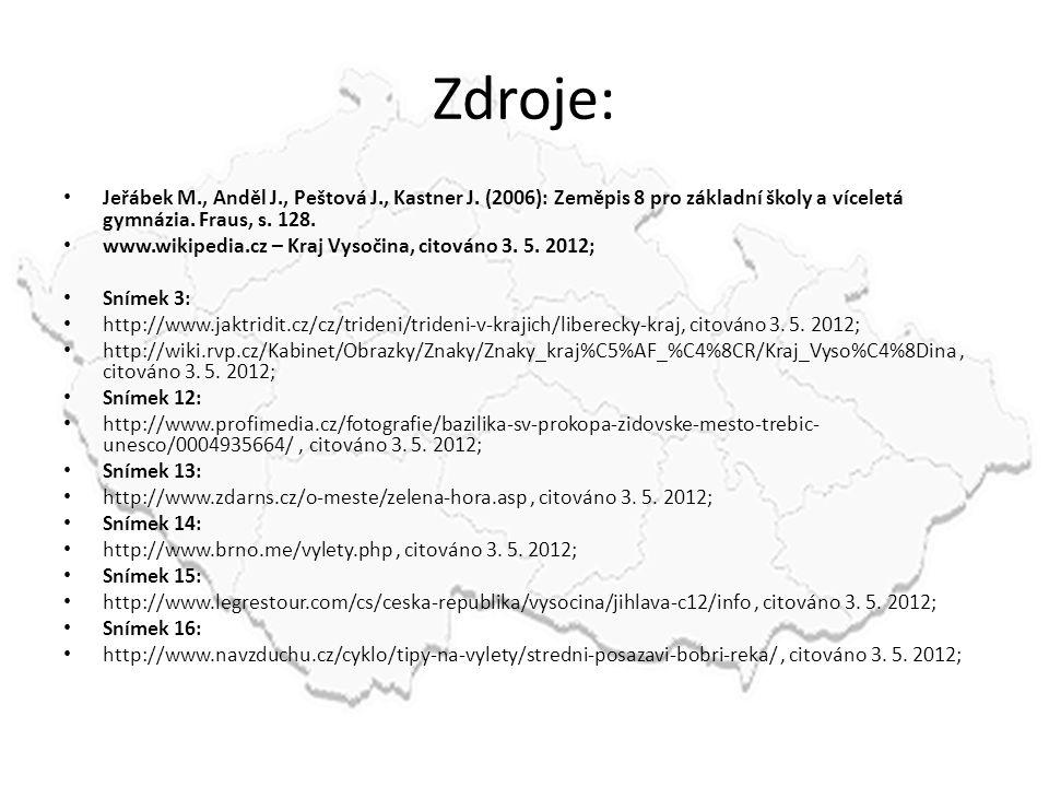 Zdroje: Jeřábek M., Anděl J., Peštová J., Kastner J. (2006): Zeměpis 8 pro základní školy a víceletá gymnázia. Fraus, s. 128.