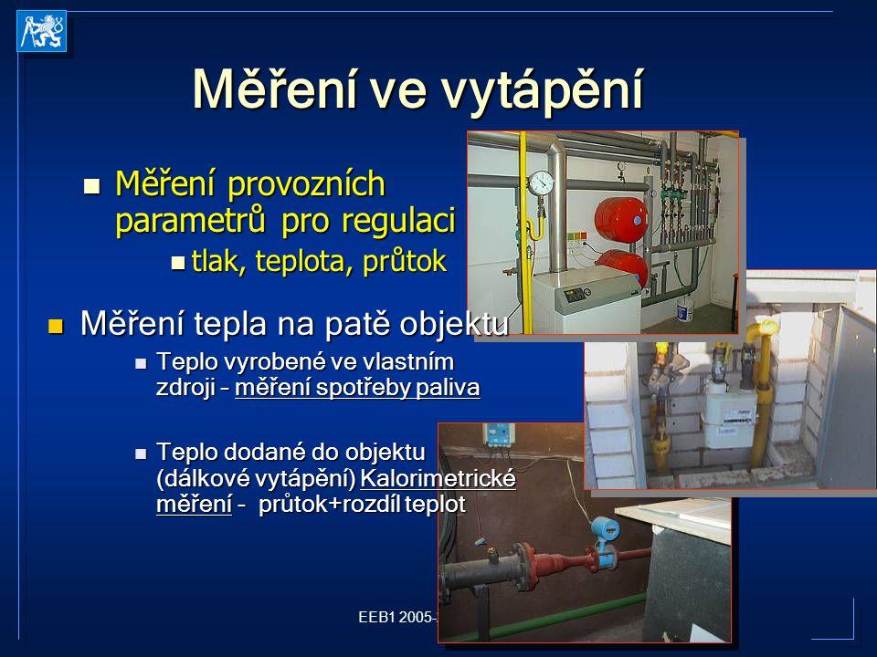 Měření ve vytápění Měření provozních parametrů pro regulaci