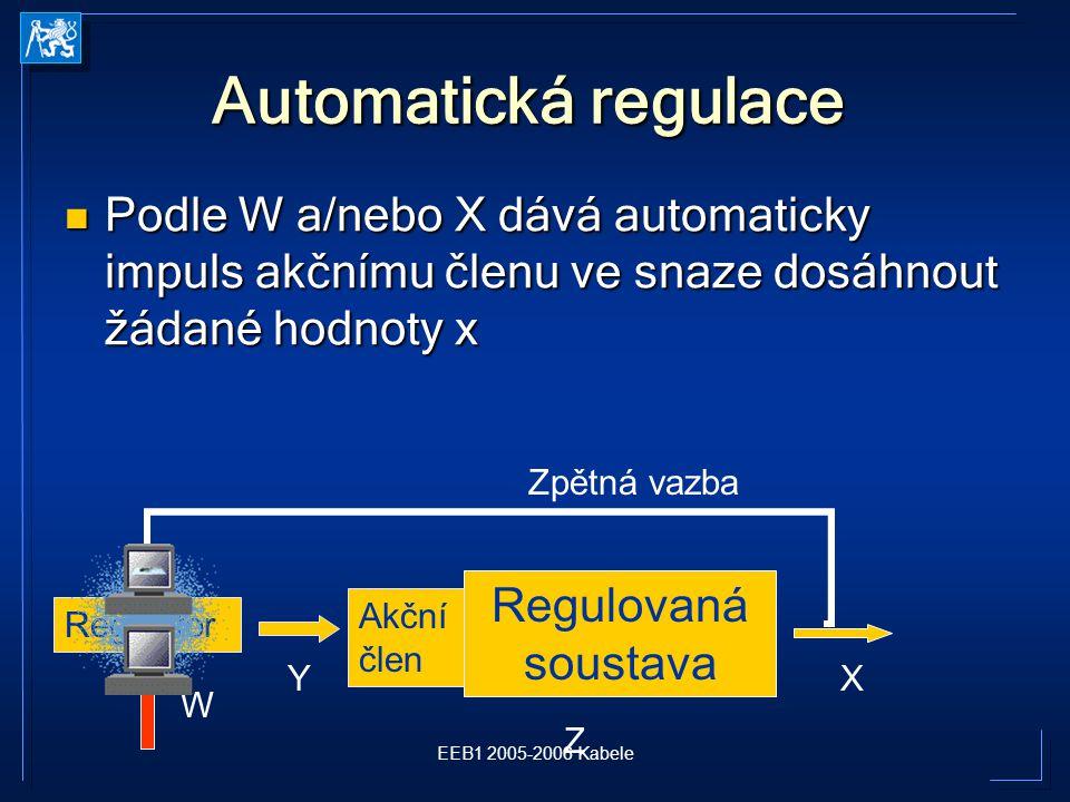 Automatická regulace Podle W a/nebo X dává automaticky impuls akčnímu členu ve snaze dosáhnout žádané hodnoty x.