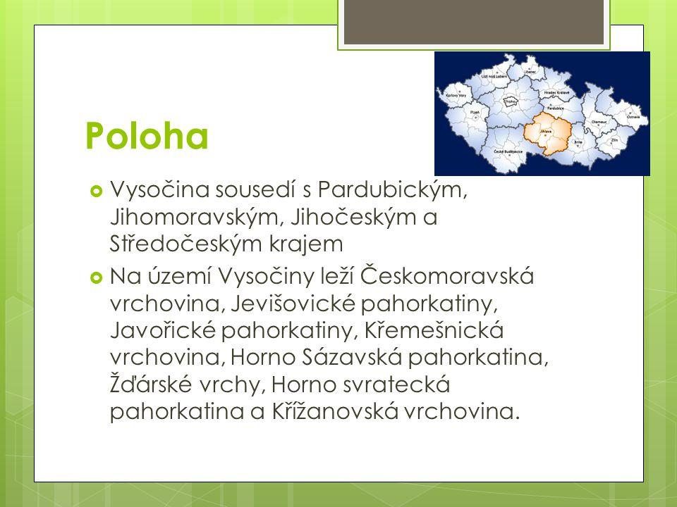 Poloha Vysočina sousedí s Pardubickým, Jihomoravským, Jihočeským a Středočeským krajem.