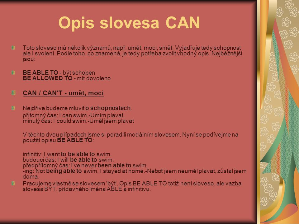 Opis slovesa CAN CAN / CAN T - umět, moci