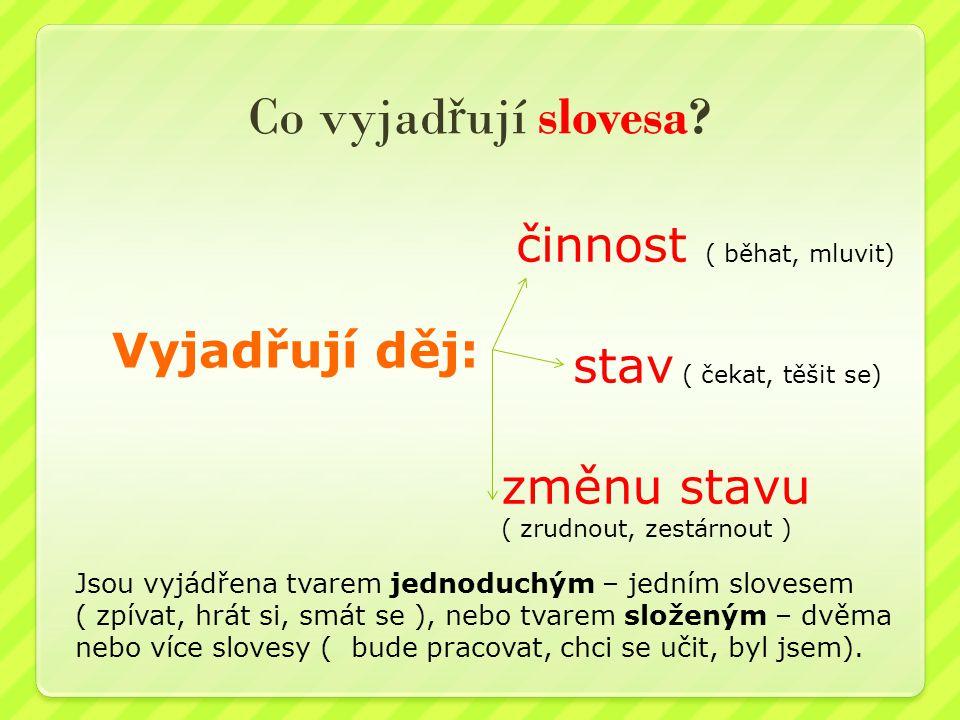 Co vyjadřují slovesa činnost ( běhat, mluvit) Vyjadřují děj: