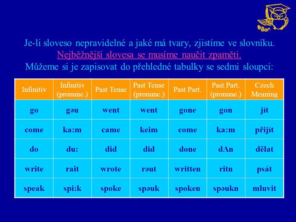 Je-li sloveso nepravidelné a jaké má tvary, zjistíme ve slovníku