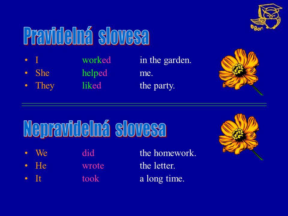 Pravidelná slovesa Nepravidelná slovesa I worked in the garden.
