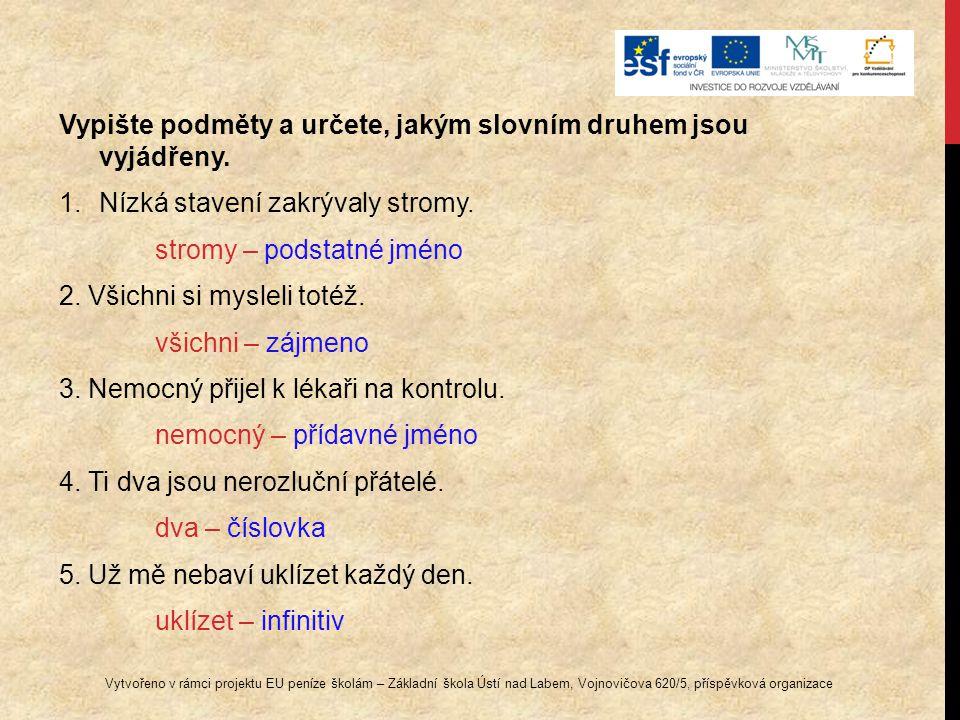 Vypište podměty a určete, jakým slovním druhem jsou vyjádřeny.