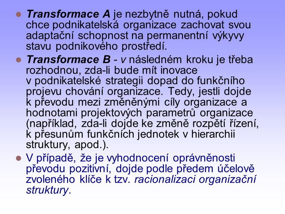 Transformace A je nezbytně nutná, pokud chce podnikatelská organizace zachovat svou adaptační schopnost na permanentní výkyvy stavu podnikového prostředí.