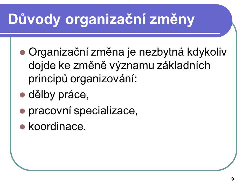 Důvody organizační změny