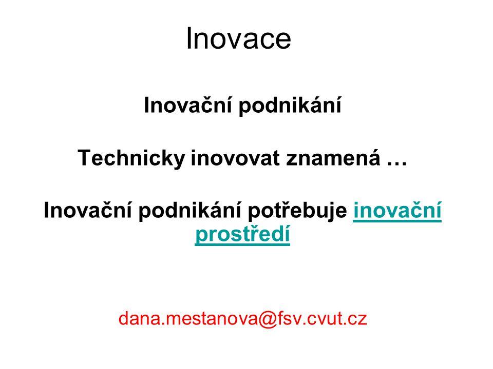 Inovace Inovační podnikání Technicky inovovat znamená …