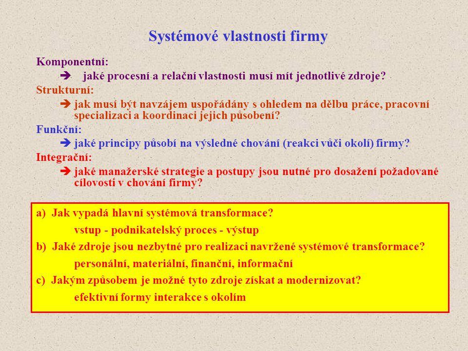 Systémové vlastnosti firmy