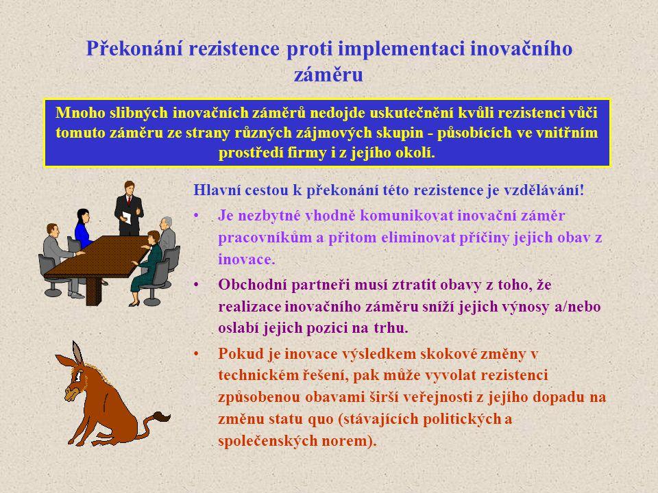 Překonání rezistence proti implementaci inovačního záměru