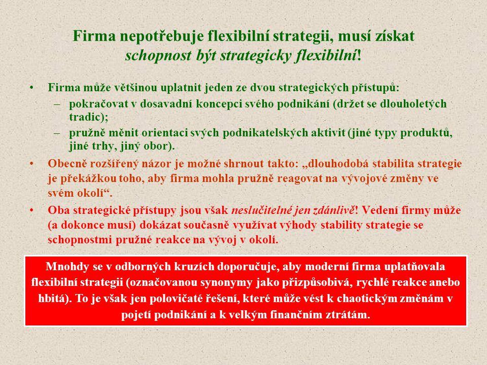 Firma nepotřebuje flexibilní strategii, musí získat schopnost být strategicky flexibilní!
